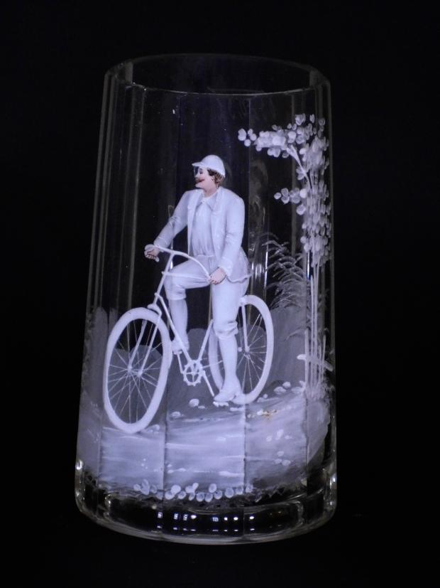 Mary Gregory Type Bicycle Stein