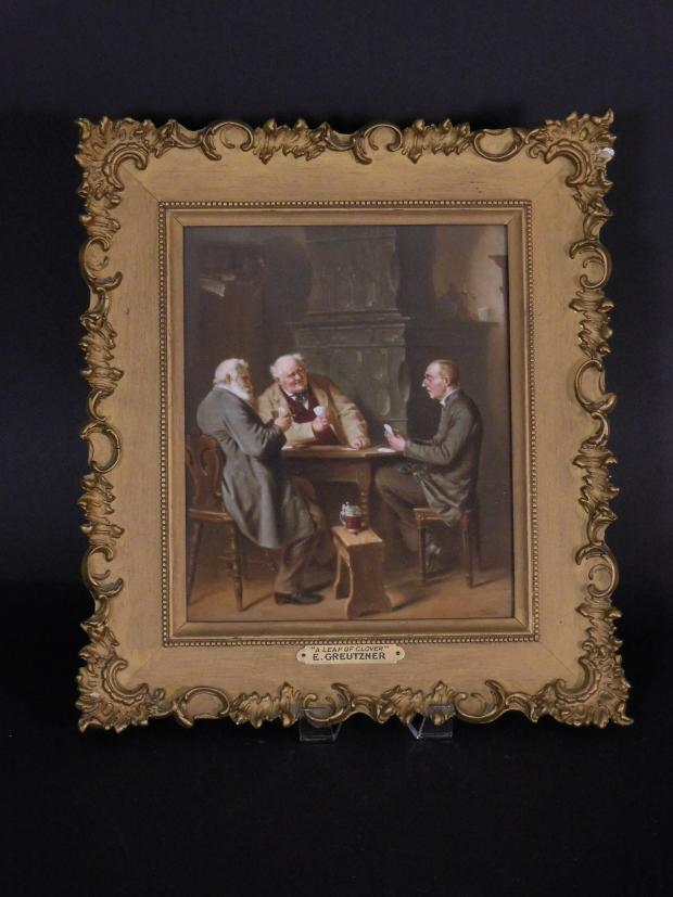 Porcelain K P M Plaque Of Three Men Playing Cards