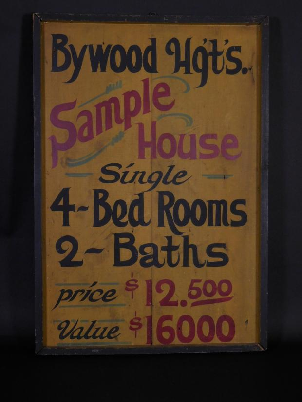 """Bywood Hg'ts"" Realty Sale Wooden Advertising Sign"