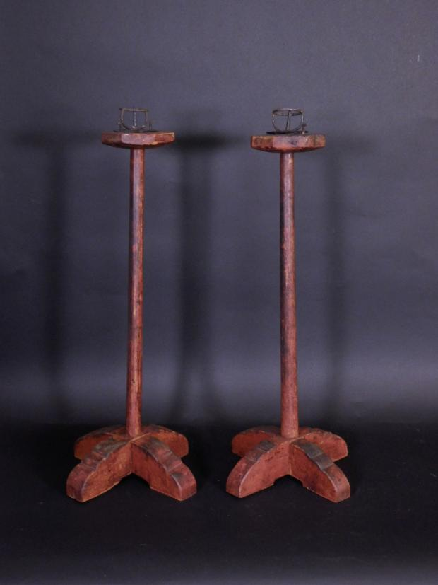 Rare Pair Of Crossed-Base Candlestands