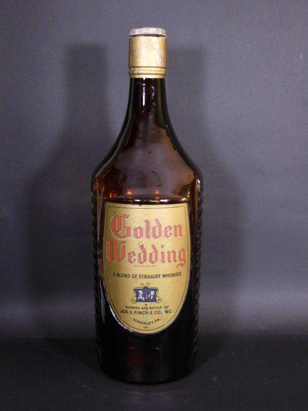 Large Golden Wedding Store Display Whiskey Bottle