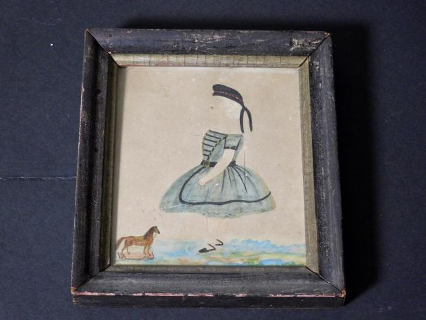 Watercolor Of A Child With A Horse Pull Toy