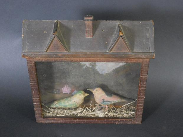 Folk Art Diorama With Two Carved Birds