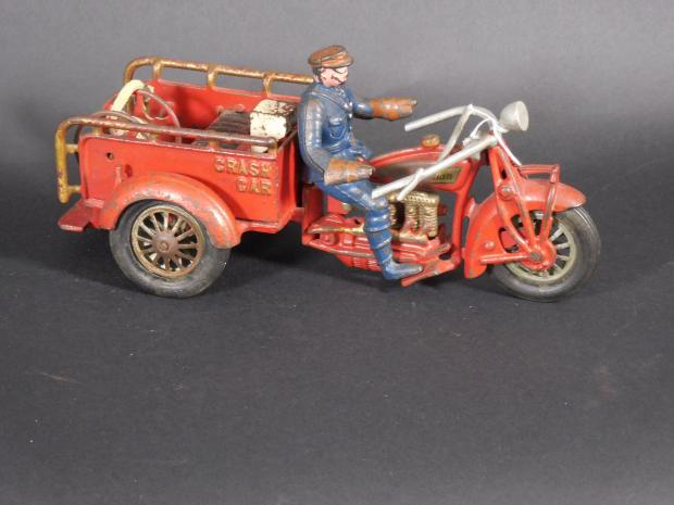 Large Hubley Cast Iron Crash Car Motorcycle