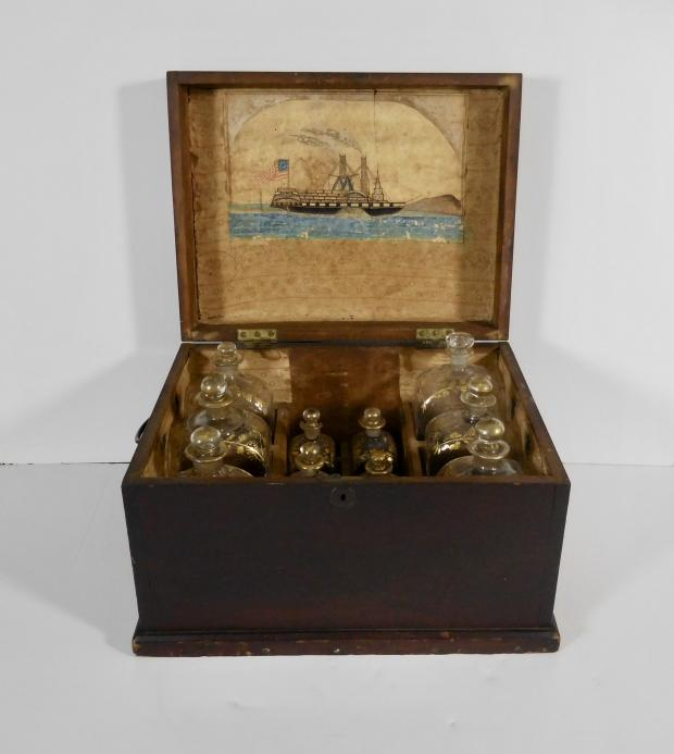 American Ship Captain's Liquor Chest With Folk Art Watercolor