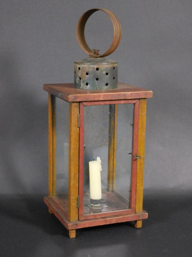 Rare Polychrome Painted Wooden Lantern