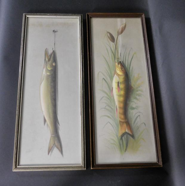 Two John S. Bower Pastel Fish Paintings