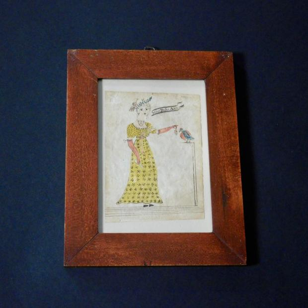 Folk Art Watercolor Of Miss Delia Ann
