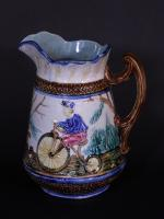 Majolica Pitcher With Bicycle Motifs