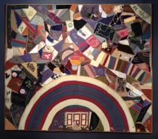 Important Folk Art Rainbow Crazy Quilt