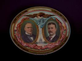 McKinley & Roosevelt: Large Oval Jugate Lithographed Tray.