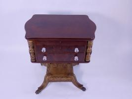 New York Sewing Table With Carved Shield Pedestal