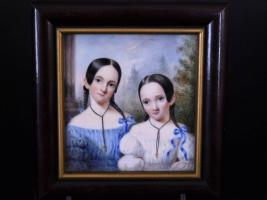 Fine Miniature Portrait of Sisters