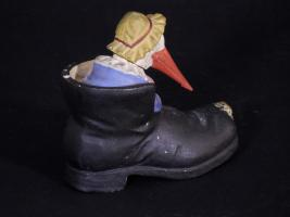 Paper Mache Stork In The Shoe Candy Container