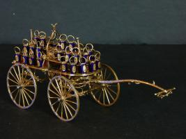 14 Karat Gold Miniature Fire Bucket Wagon
