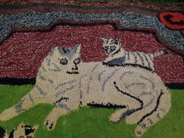 Hooked Rug With Cat and Kittens