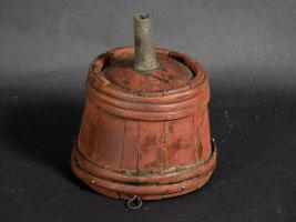 Wood and Pewter Funnel In Original Red Paint