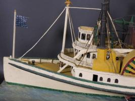 Painted Paddle Wheel Steamboat Model