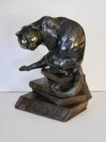 Fine Bronze Cat Perched on Stack of Wooden Books