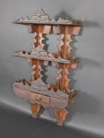 Carved And Painted Folk Art Wall Shelf