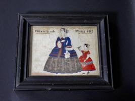 Folk Art Watercolor Of Elizabeth And Mente Folt