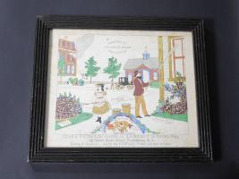 Folk Art Watercolor Of Whitman's Fountain Pump