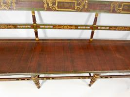 Paint Decorated Plank Bottom Settee