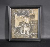 Charcoal Drawing Of Two Kittens And A Puppy