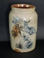 Exceptional Stoneware Crock With Folky Bird Decoration