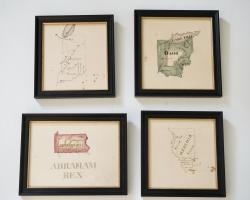Group Of Four Watercolor Maps By Abraham Rex