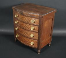 Miniature Sheraton Bow Front Chest Of Drawers