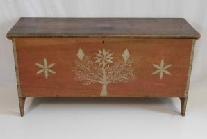 Six Board Decorated Pine Chest